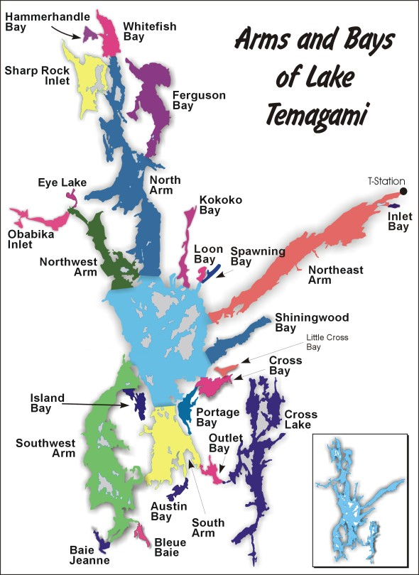 Lake Temagami Map - Arms and Bays
